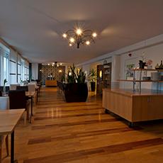 Bilden visar matsalsdelen inne på Clarion Hotel.