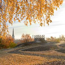 Bilden visar en del av Djäkneberget en höstdag med domkyrkan, Skrapan och stadshustornet i bakgrunden.