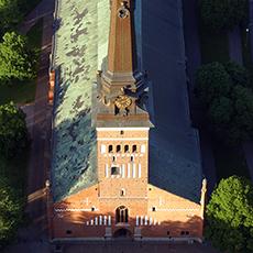 Vy uppifrån över Västerås Domkyrka. Fotograf: Linda Heplinger