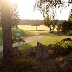 Bilden visar ett grönområde med en grusad gångbana på Fullerö Golfklubb.