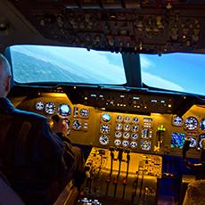 Bilden visar en flygsimulator