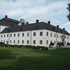 Bilden visar ett stort ståtligt vitt slott