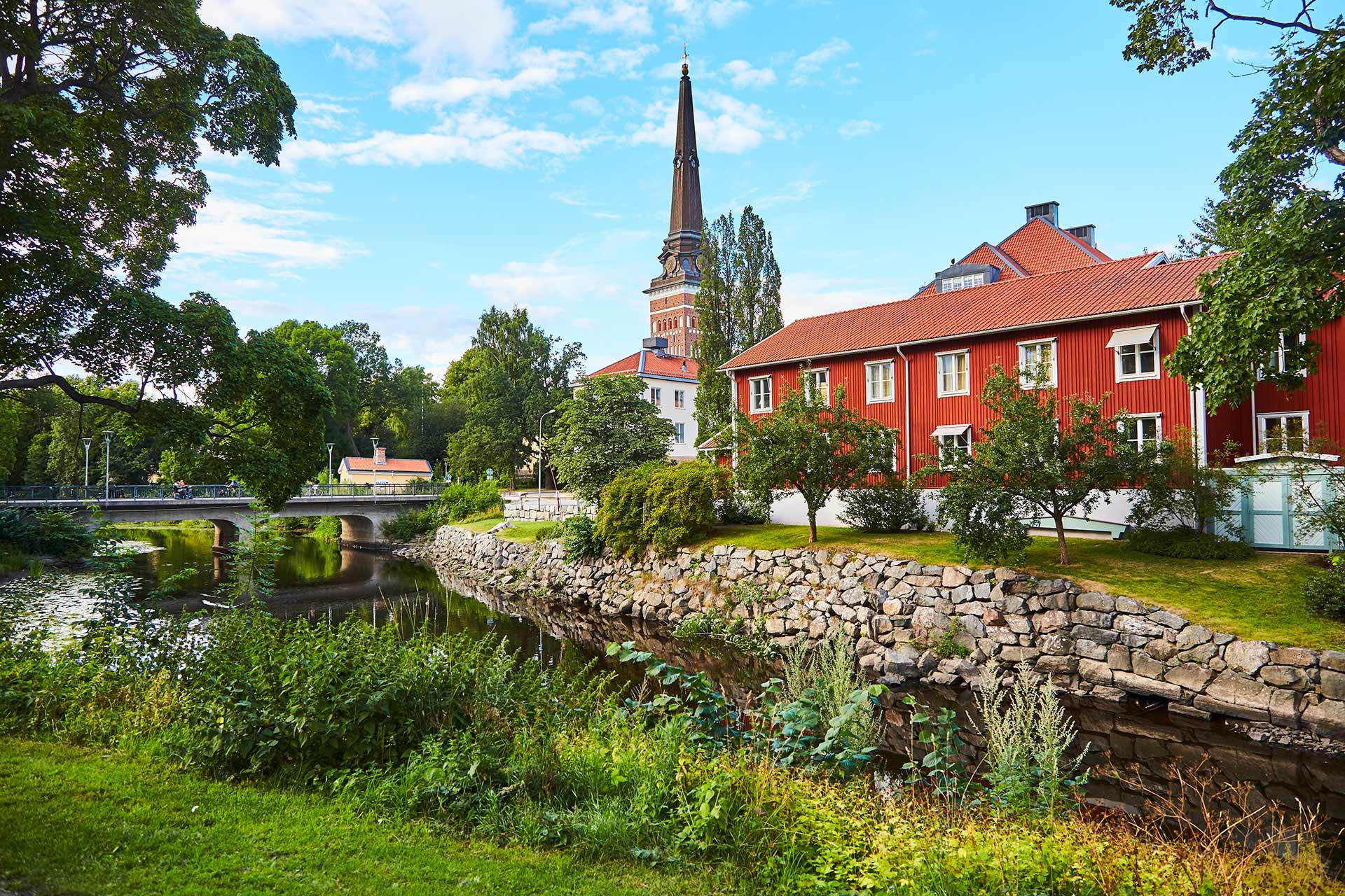 Vy över svartån och Västertås domkyrka. Fotograf: Pia Nordlander