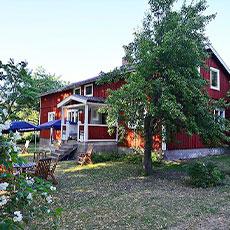 Stort rött hus grönska och trädgård