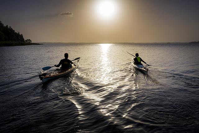 Två personer paddlar i solnedgången. Pressbild.