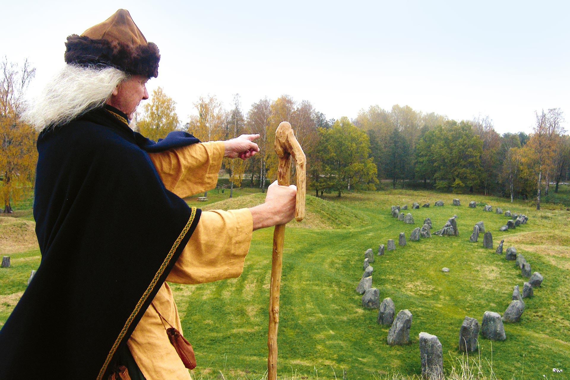 En man i vikingakläder står och ser ut över Anundshög. Foto: Maisa Lappi