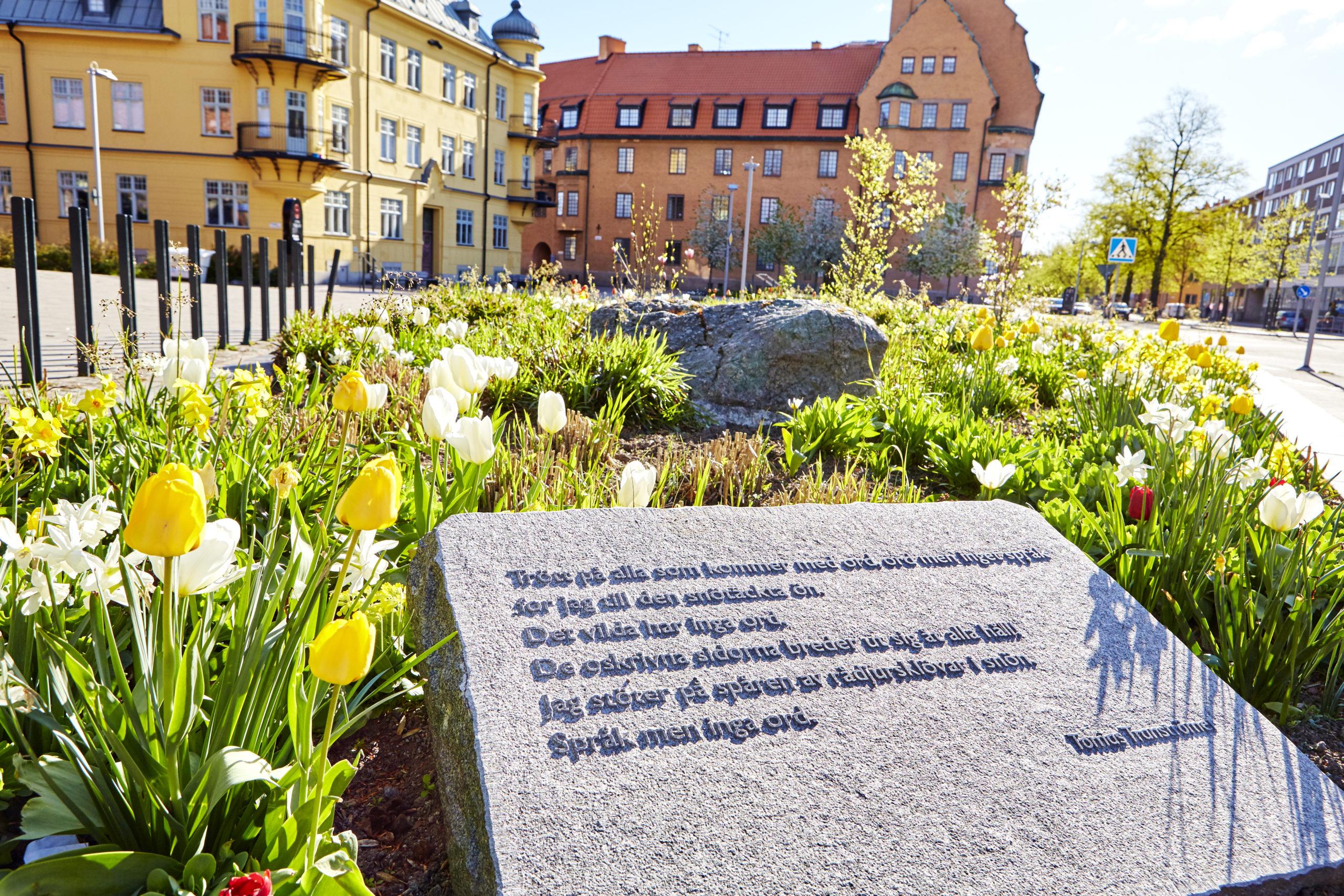 Dikter utav Tomas Tranströmmer i Västerås. Fotograf: Pia Nordlander