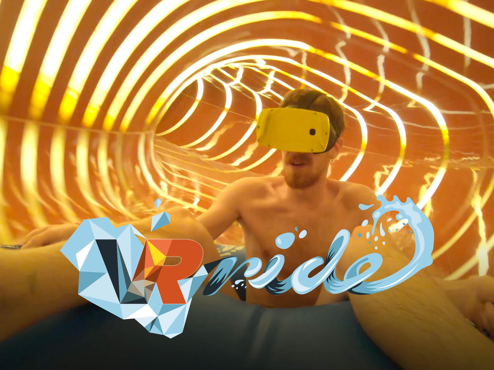 En man åker nyheten VR- Ride på Kokpunkten actionbad. Foto: Pressbild