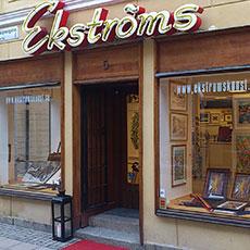 Entrén samt skyltfönster till Ekströms Konst. Foto: Pressbild