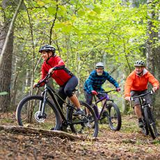 Tre personer som cyklar i mountainbike i skogen. Pressbild.