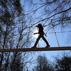 Person som går på en hängbro uppe i trädtopparna. pressbild.