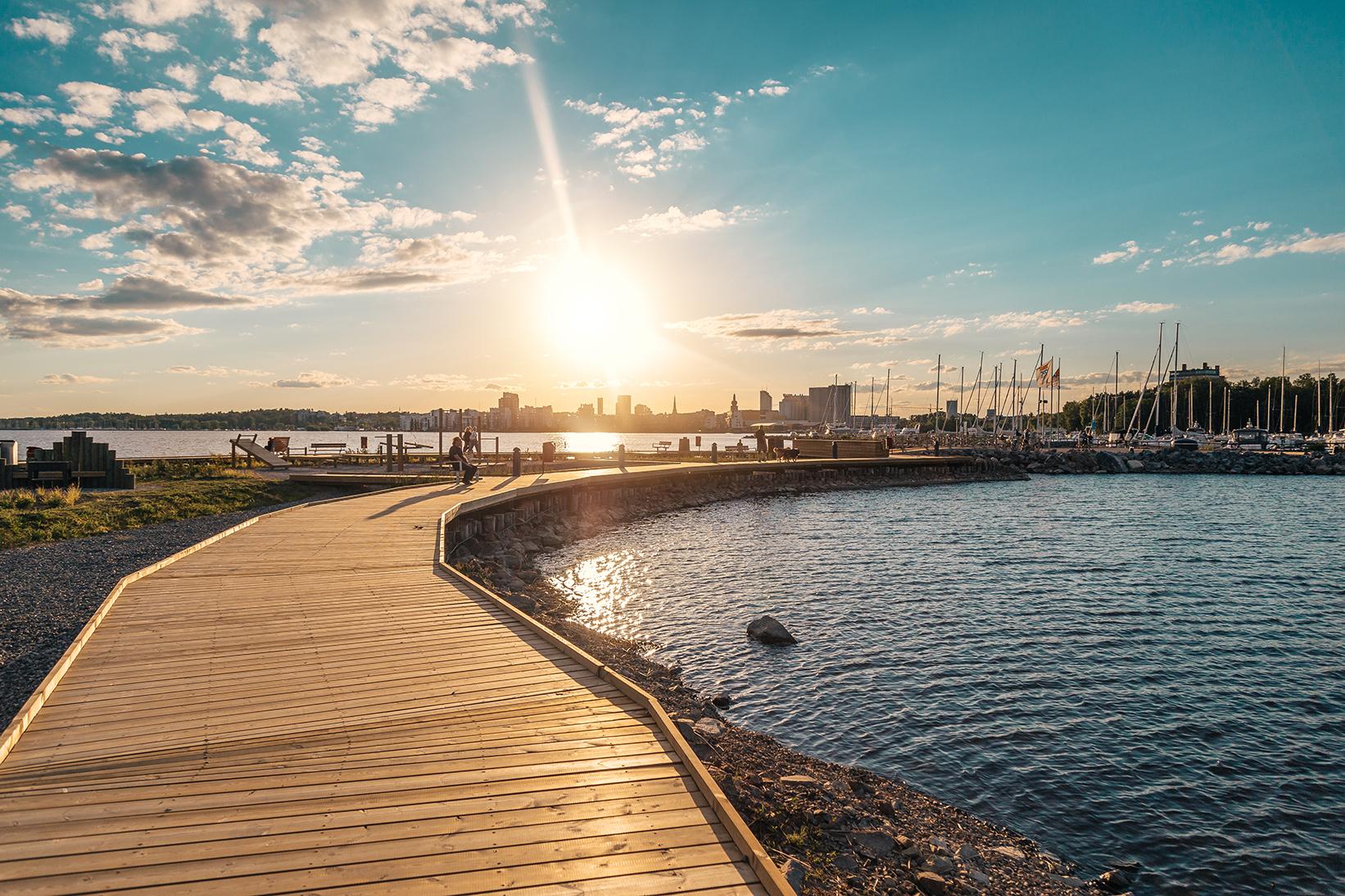 Visit Västerås, solnedgång över Mälaren.