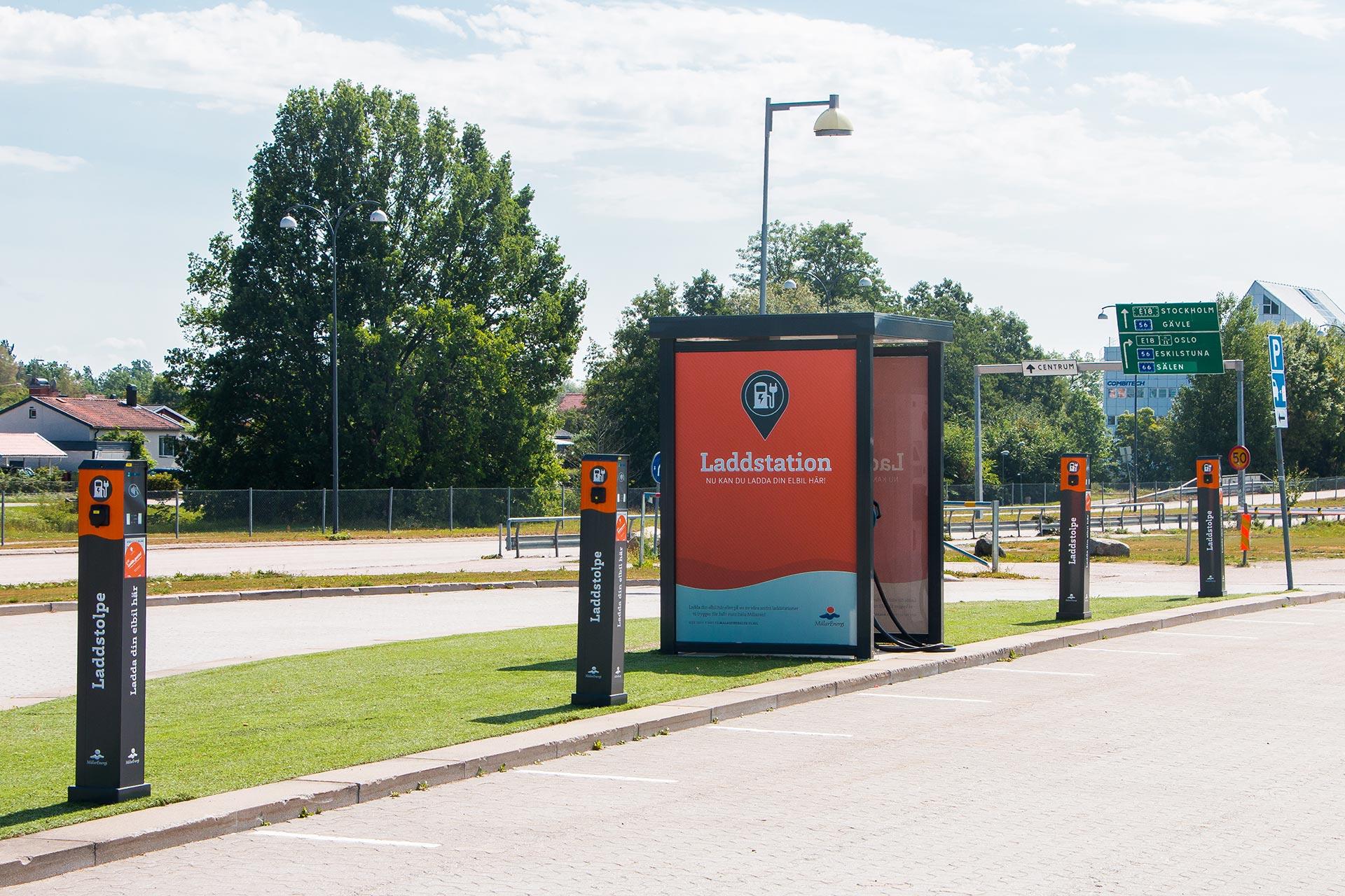 Laddningsstation för elbilar i Västerås. Fotograf: Mostphotos